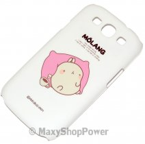 MOLANG CUSTODIA HARD COVER SAMSUNG GALAXY S3 I9300 / NEO I9301 WHITE SLEEPING