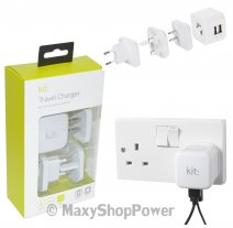 KIT TRAVEL CARICABATTERIE CASA ORIGINALE 2X USB UNIVERSALE 17W WHITE